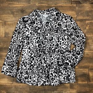 Harve Benard Animal Print Peplum Blouse 3/4 Sleeve